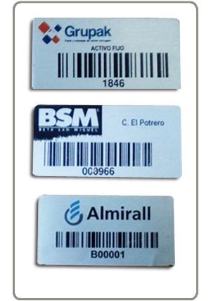 Placas y Etiquetas para activo fijo